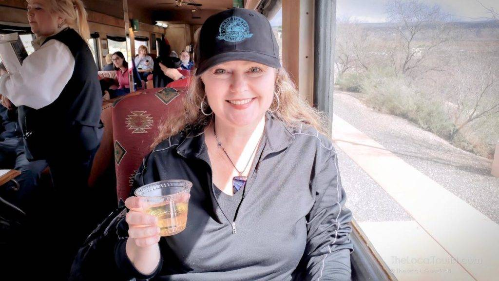 Welcome champagne on Verde Canyon Railroad