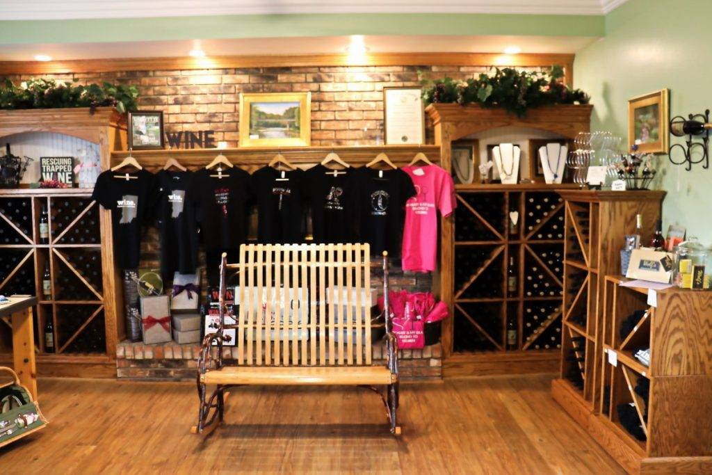 T-shirts and custom chair at Wildcat Creek Winery