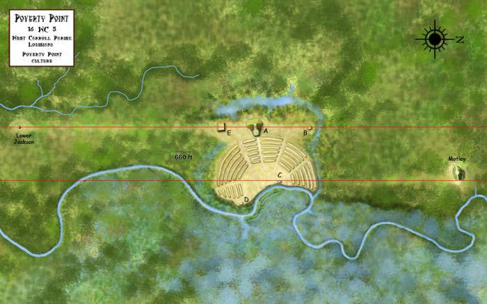 An overview of the Poverty Point Site, built between 1650 to 700 BCE, during the Archaic Period in the Americas. Work by Heironymous Rowe