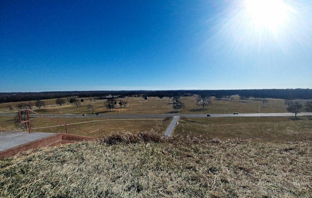 Overlooking US 40 cutting through Cahokia Mounds