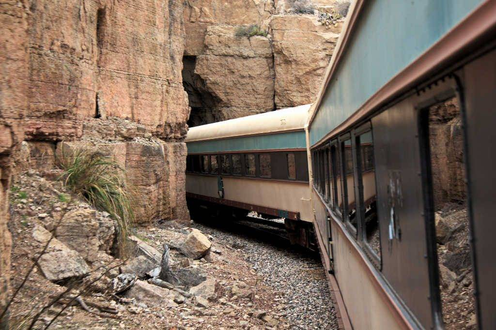 Verde Canyon Excursion Railroad entering the tunnel in the mountain