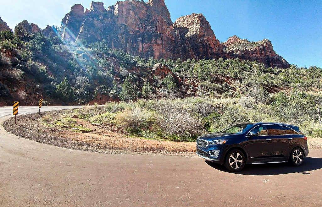 Mae Sorento, our Kia companion, in Zion National Park