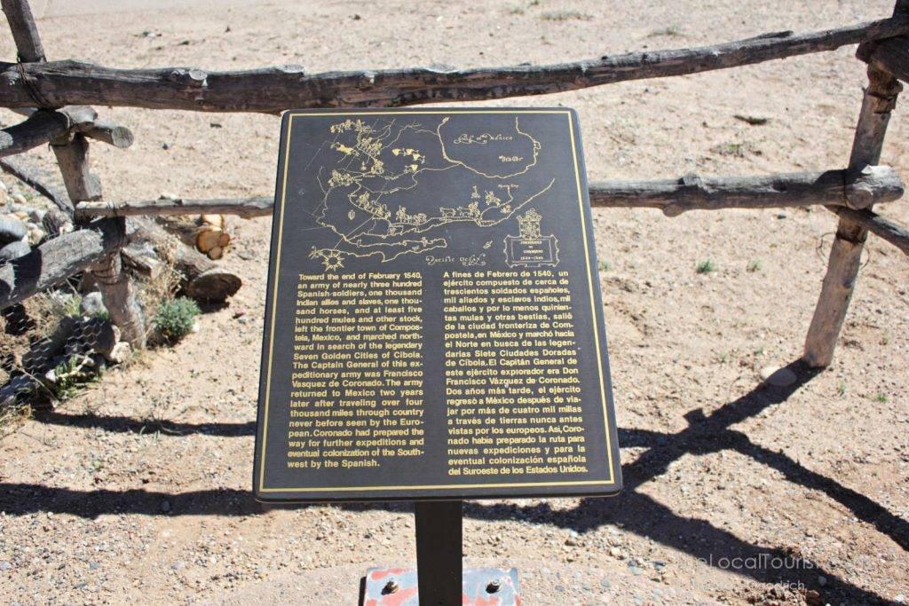 Sign about Coronado at Coronado Historic Site