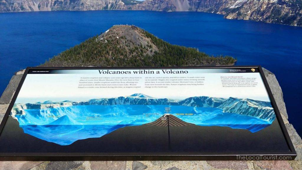 Wayside exhibits tell the story of Crater Lake.