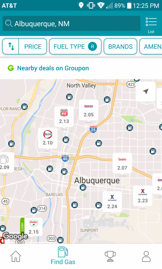 GasBuddy Map Screenshot