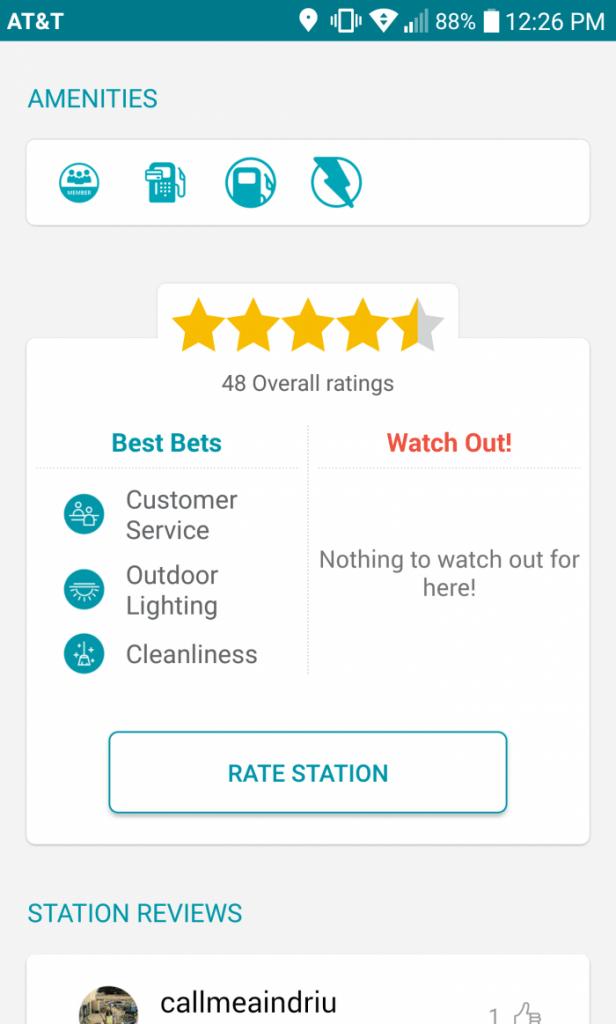 GasBuddy Station Details Screenshot
