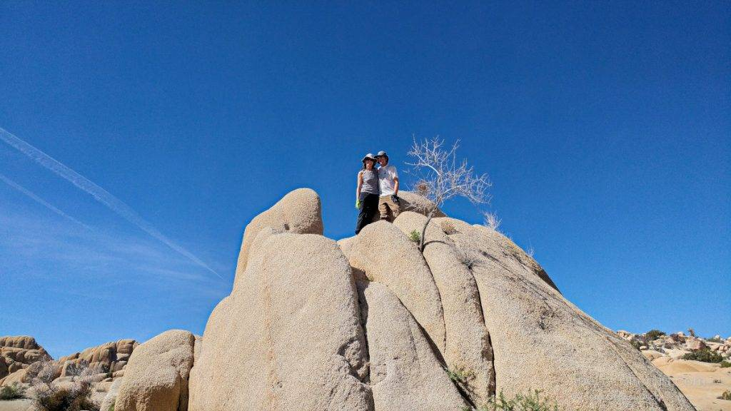 Fellow campers on top of one of the jumbo rocks at Joshua Tree National Park