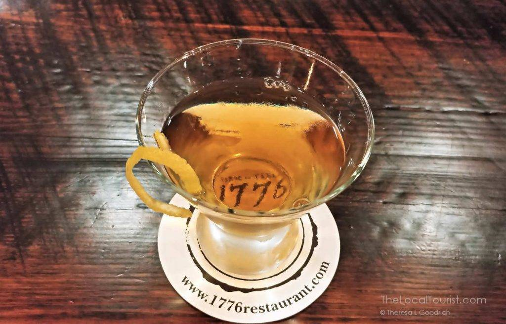 American Eagle cocktail at 1776, made with Few American Whiskey, Giffard Ginger of the Indies, Italicus, and orange bitters