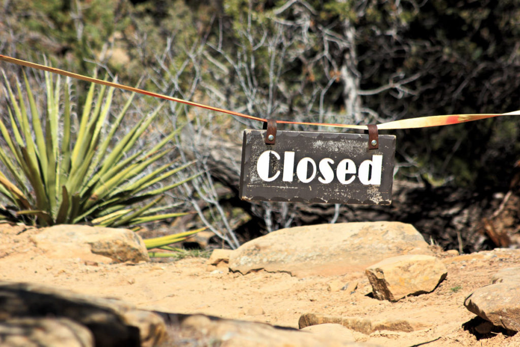 Closed sign at Mesa Verde National Park