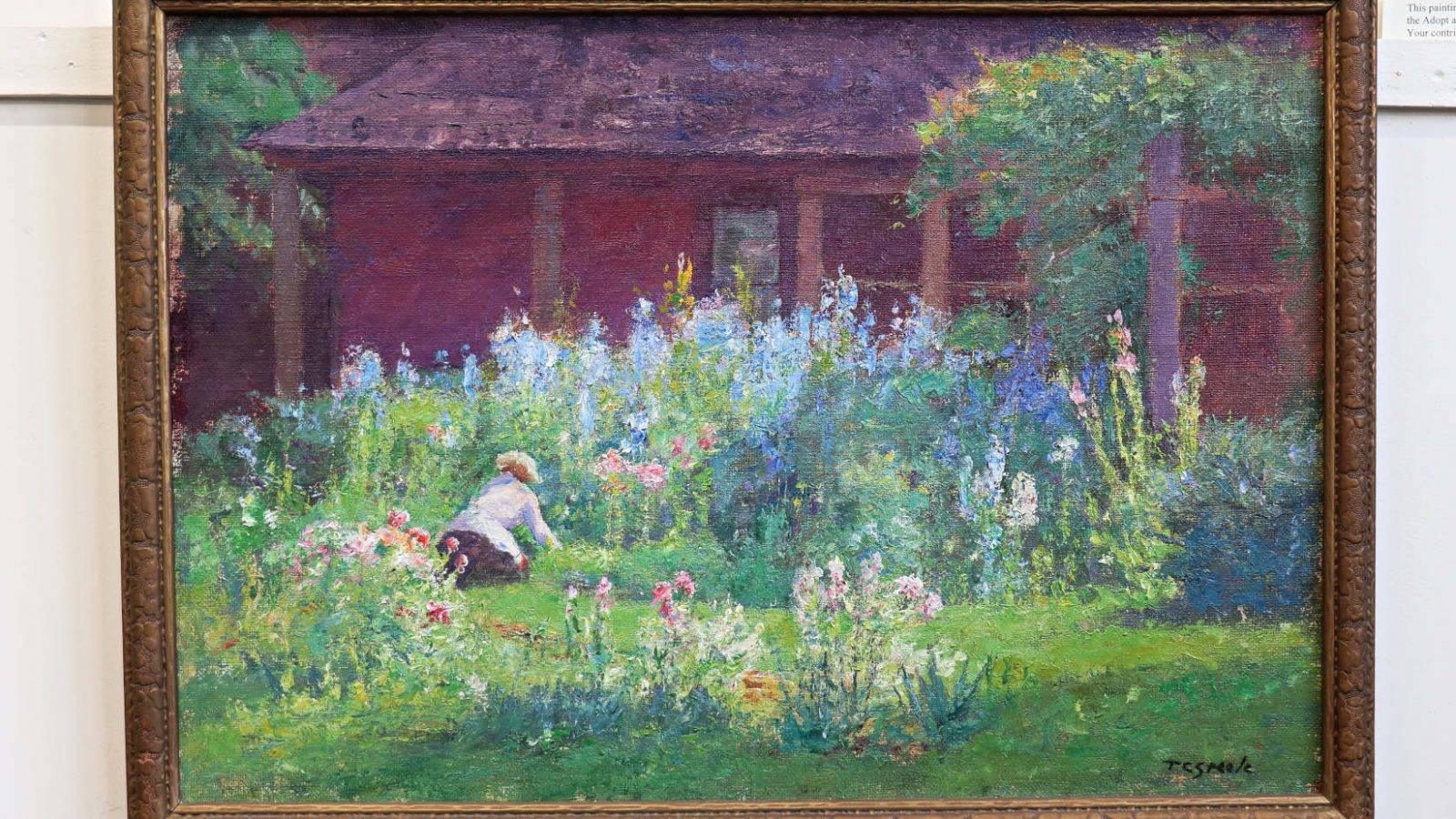 Selma in her garden depicted by T.C. Steele