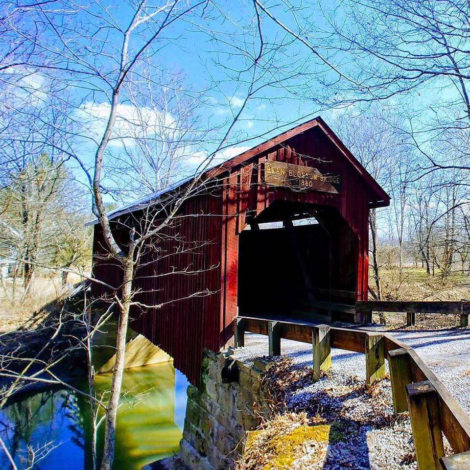 Bean Blossom Covered Bridge, one of two covered bridges in Brown County Indiana