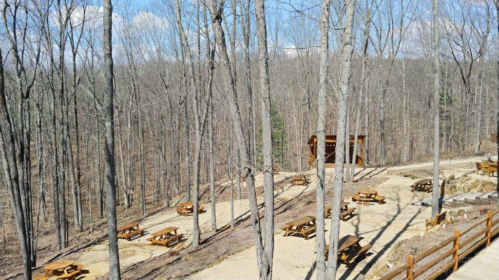 Picnic tables and stage at Hard Truth Hills in Brown County Indiana