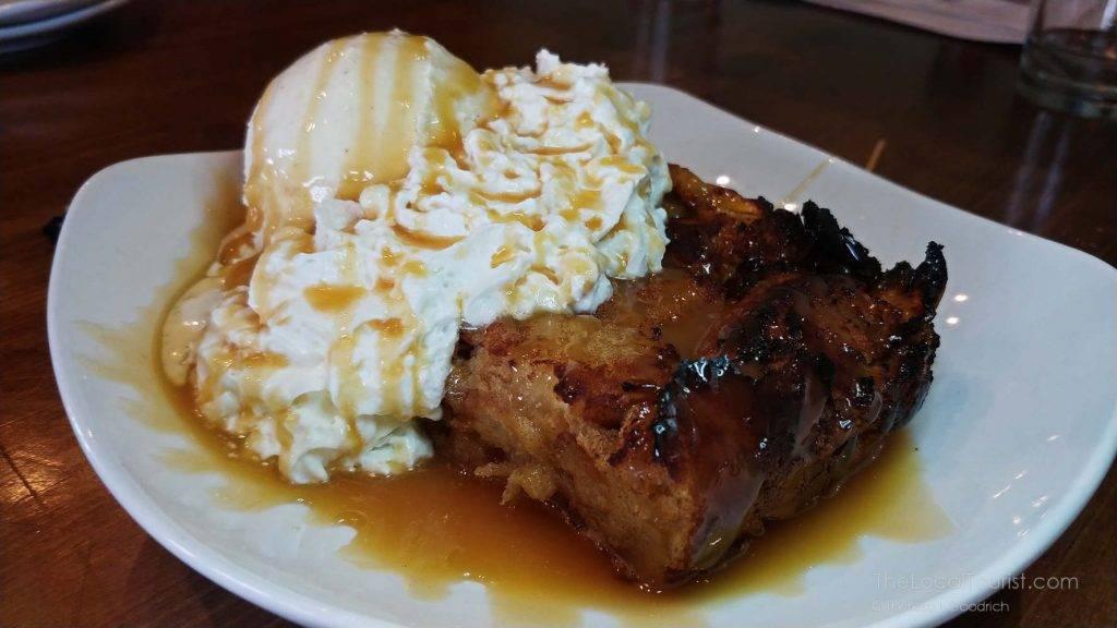 Warm apple bread pudding at Big Woods Restaurant