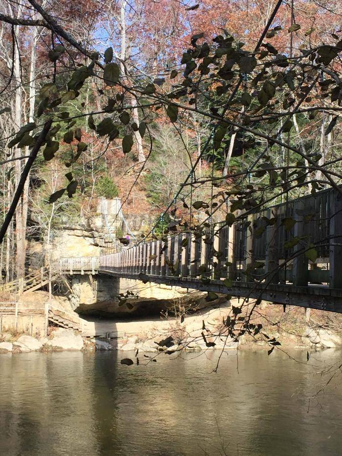 Suspension bridge over Sugar Creek in Turkey Run State Park