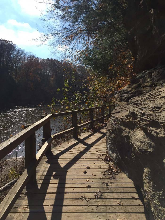 Wooden trail along Sugar Creek in Turkey Run State Park