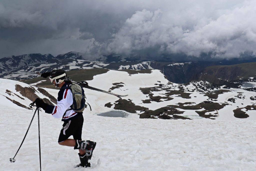 Skiier at top of Beartooth Highway