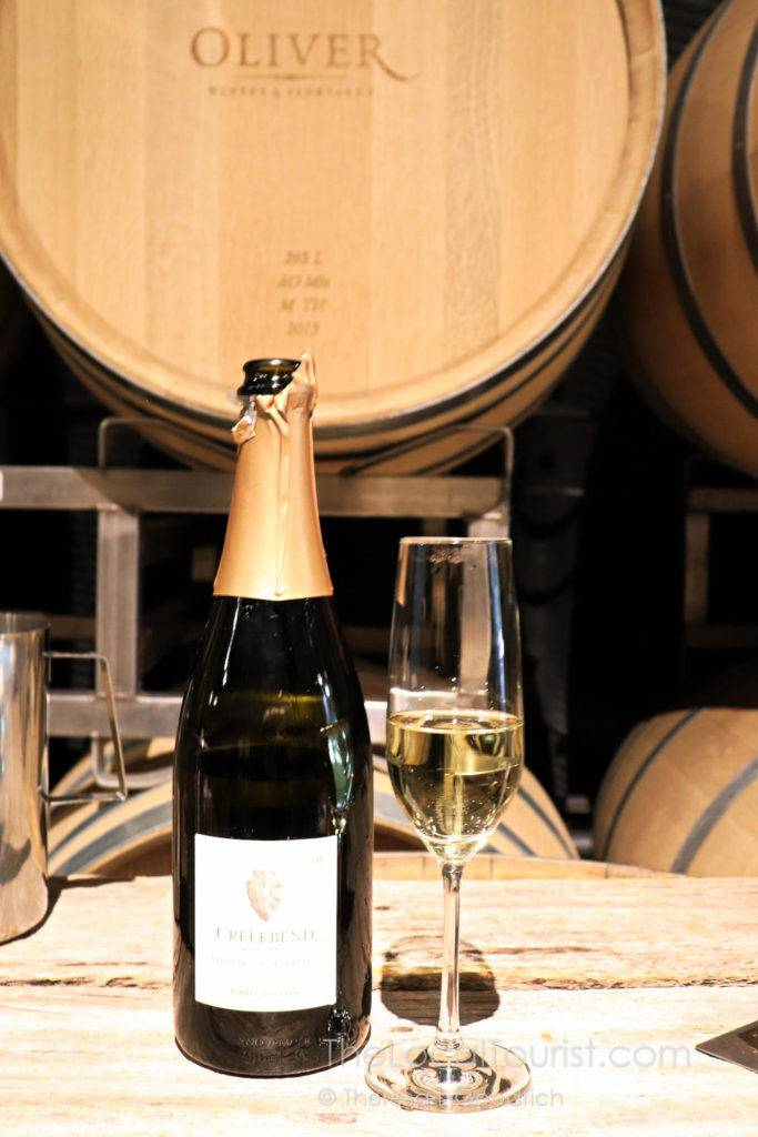 The Vidal Blanc Sparkling at Oliver Winery is a delicious start to a tasting