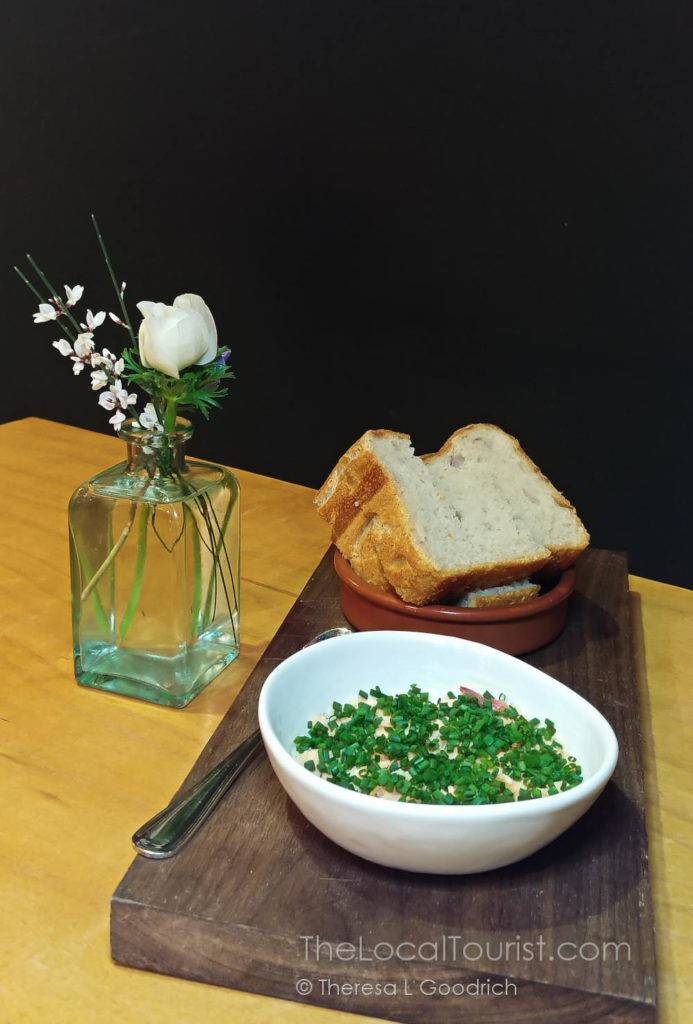 vodka-poached and smoked salmon with chives and house sourdough at Cardinal Spirits