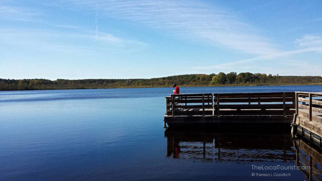 Boy fishing Mauthe Lake at Kettle Moraine State Forest