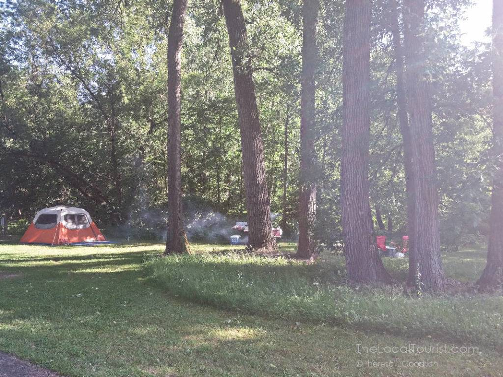 Campsite at Mississippi Palisades State Park near Galena, Illinois