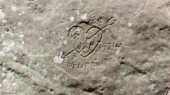 Heart etched into rocks at Ferne Clyffe State Park