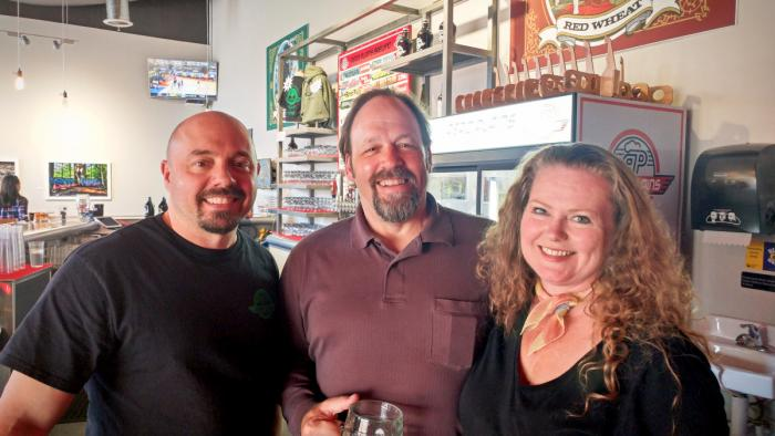 Jim and Theresa with Lance at Aero Plains Brewing