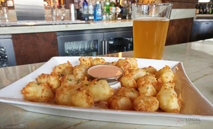 Clock Tower Cheese Curds and New Glarus Spotted Cow at The Edgewater in Madison, Wisconsin
