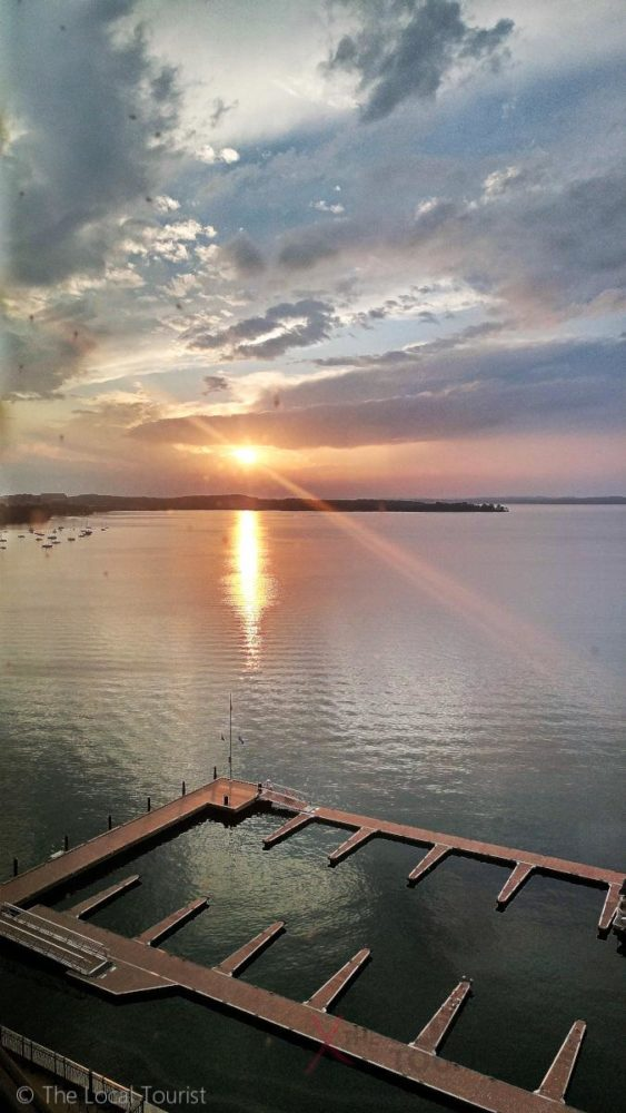 Sunset from Premium Lake View King Room at The Edgewater in Madison, Wisconsin