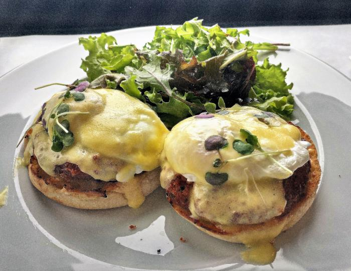 Crab Cake Eggs Benedict at The Edgewater in Madison, Wisconsin