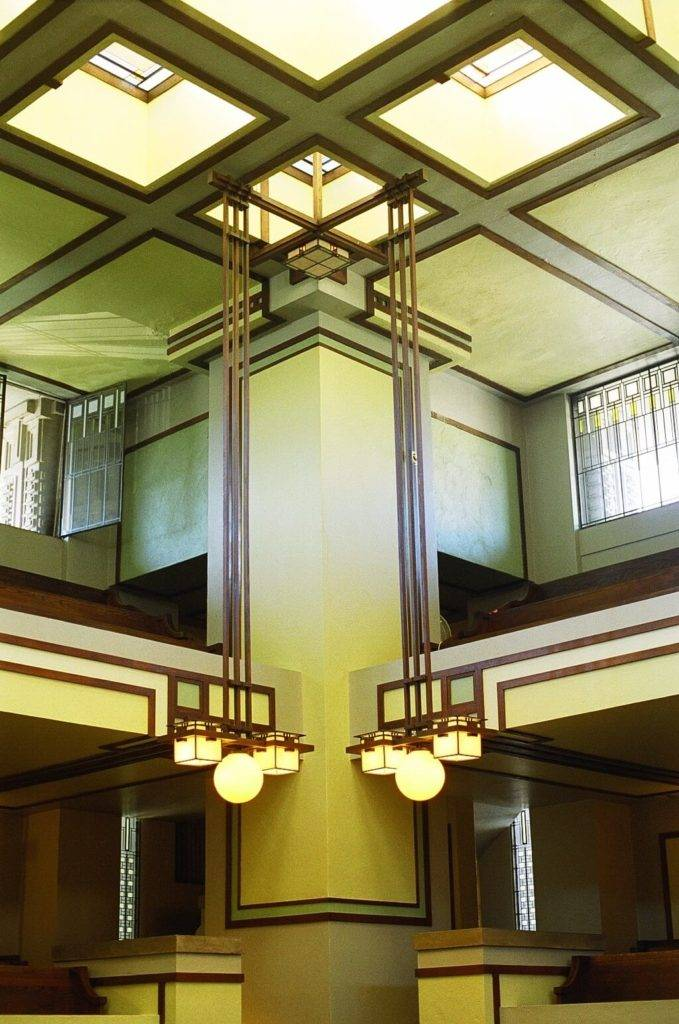 Inside Unity Temple in Oak Park, Illinois