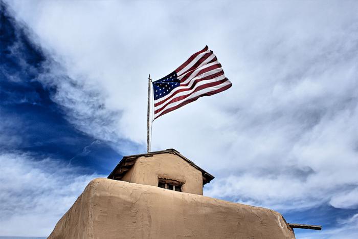 US flag flying over Bent's Old Fort