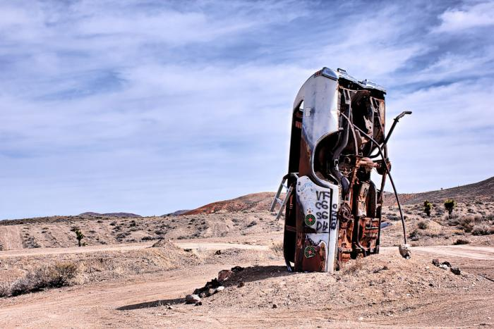 buried car outside goldfield, nevada