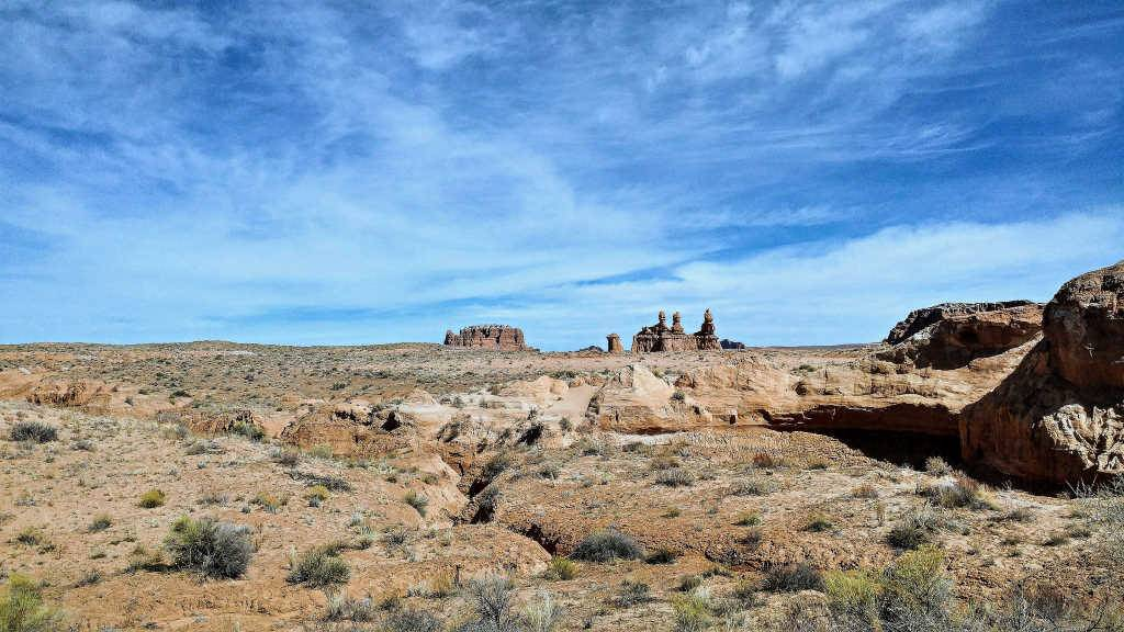 Three Sisters formation in the distance at Goblin Valley State Park
