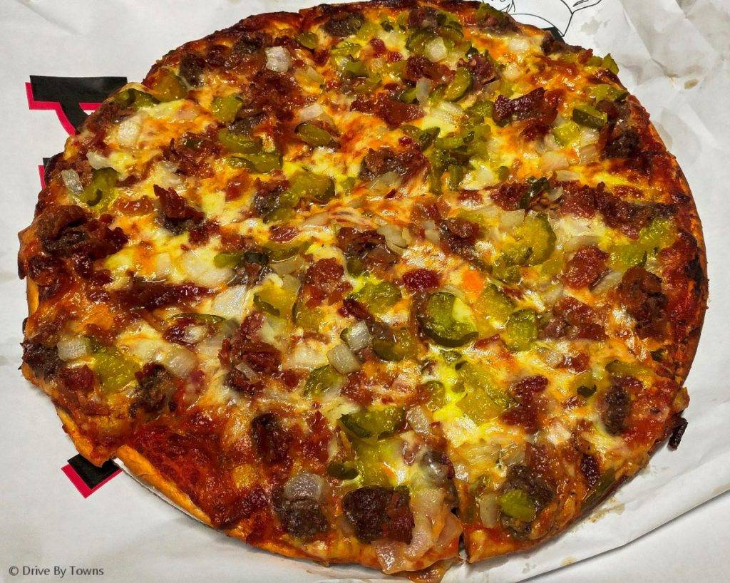 Cheeseburger Pizza from Cedar River Pizza Co in Charles City, Iowa