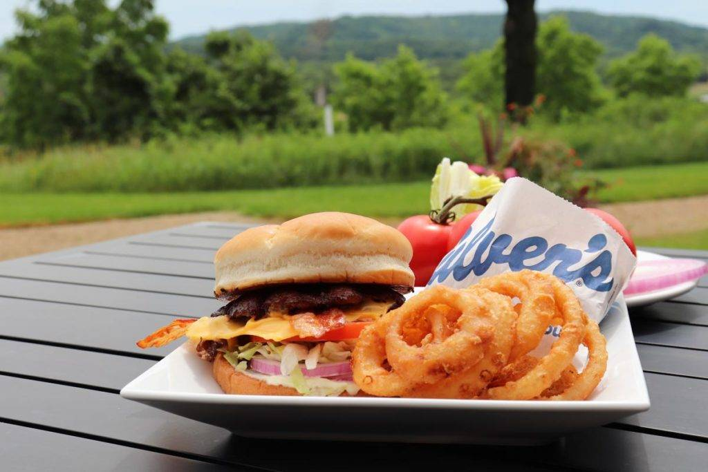 Culver's Bacon Deluxe with onion ringgs