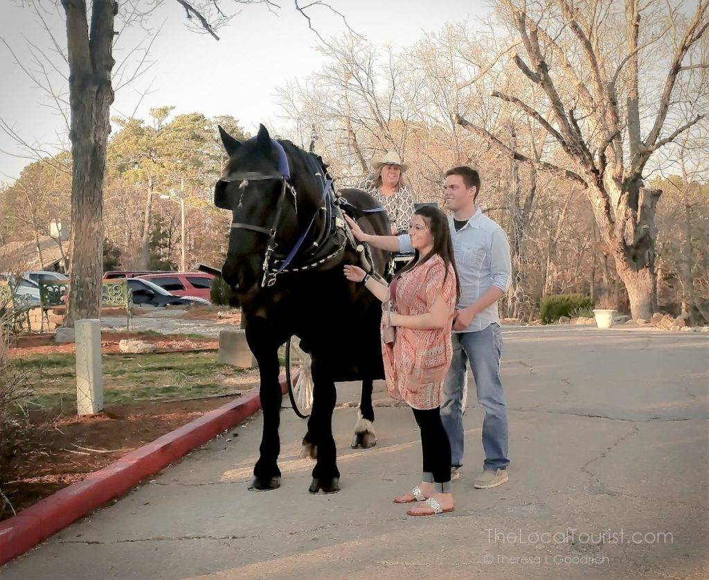 Horse drawn carriage at 1886 Crescent Hotel & Spa in Eureka Springs