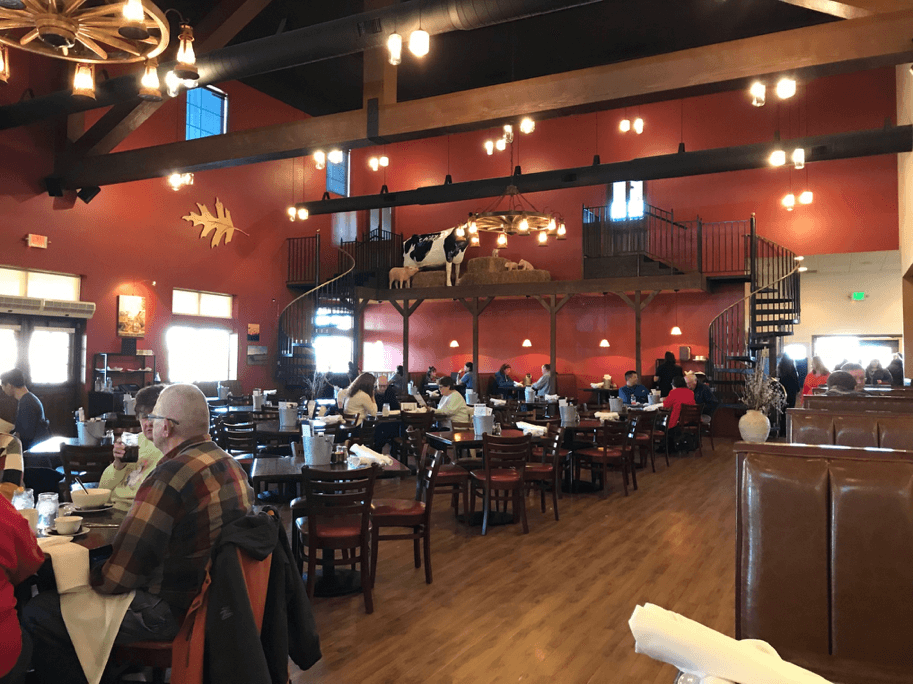 Restaurant at Fair Oaks Farms with its vaulted ceilings and cow decorations