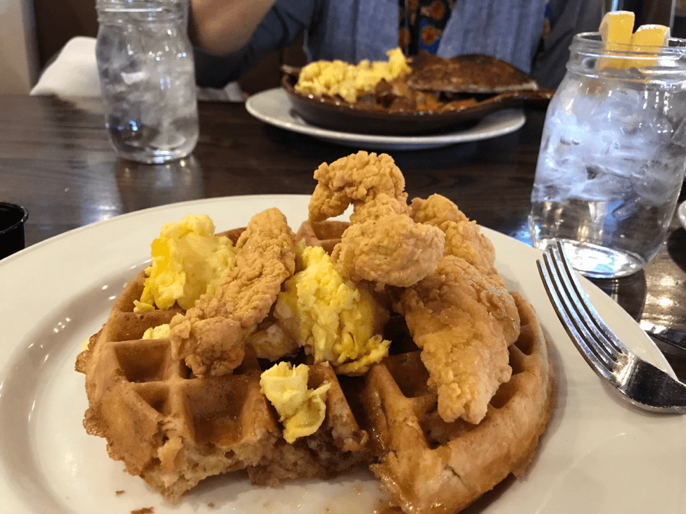 bacon waffle with fried chicken and scrambled eggs