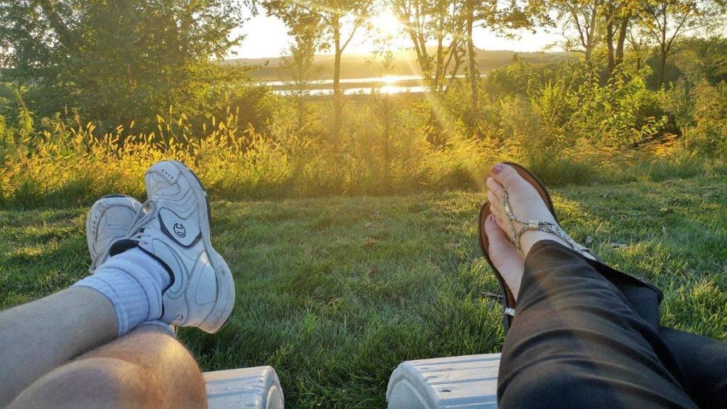 Sunset over the Mississippi River at Goldmoor Inn