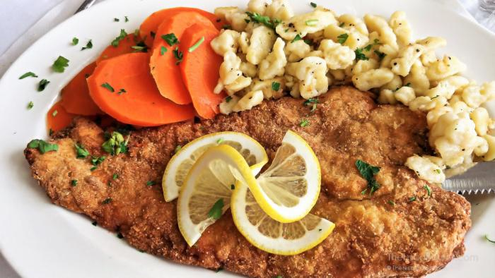 Schnitzel and spaetzle at House of Gerhard