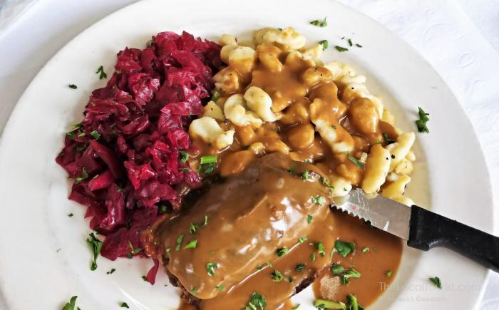 Beef Rouladen with red cabbage and spaetzle at House of Gerhard