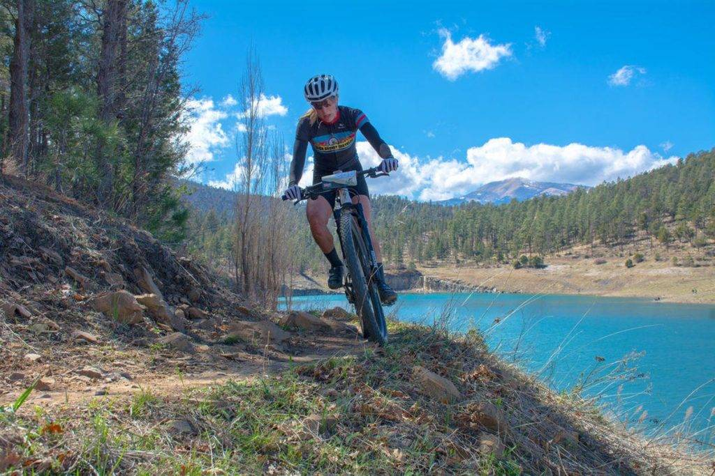 Woman Mountain Biking in Ruidoso New Mexico