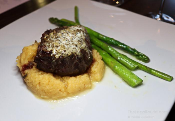 filed topped with morel butter