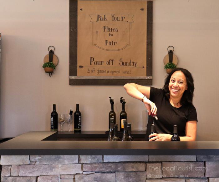 Opening wine at Free Run Cellars tasting room in Berrien Springs, Michigan
