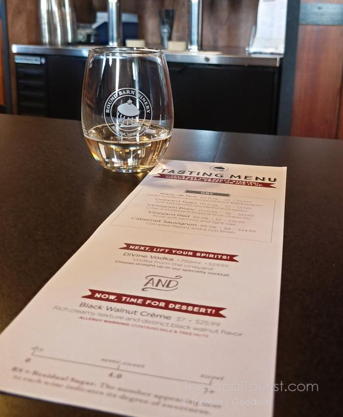Wine tasting menu at Round Barn Winery