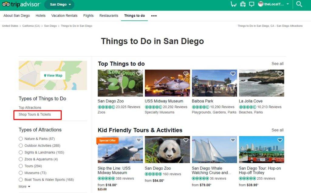 TripAdvisor Things to Do in San Diego page