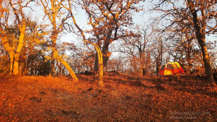 Tent and campsite #44 at Wichita Mountains Wildlife Refuge