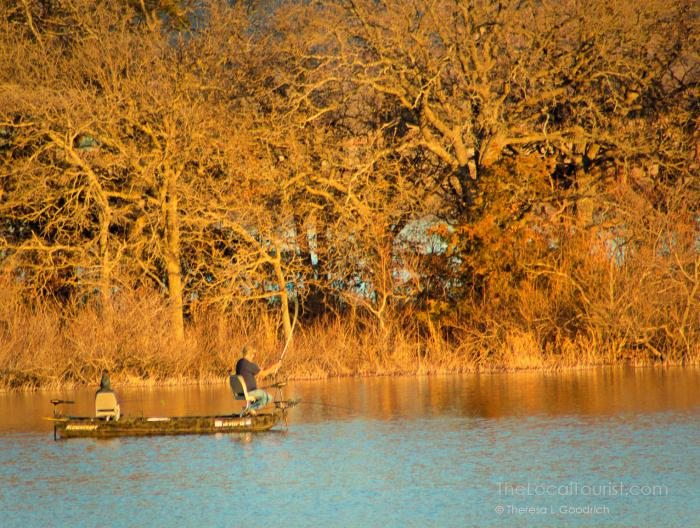 Father and son fishing on Quanah Parker Lake