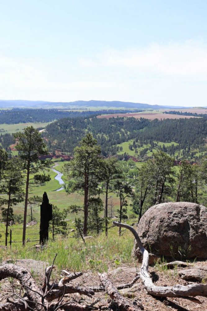 View of Belle Fourche River and the surrounding plains from the base of Devils Tower