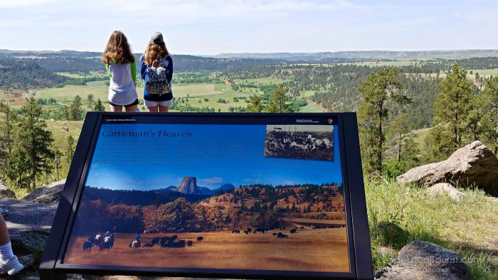 Hikers looking out over the Belle Fourche River